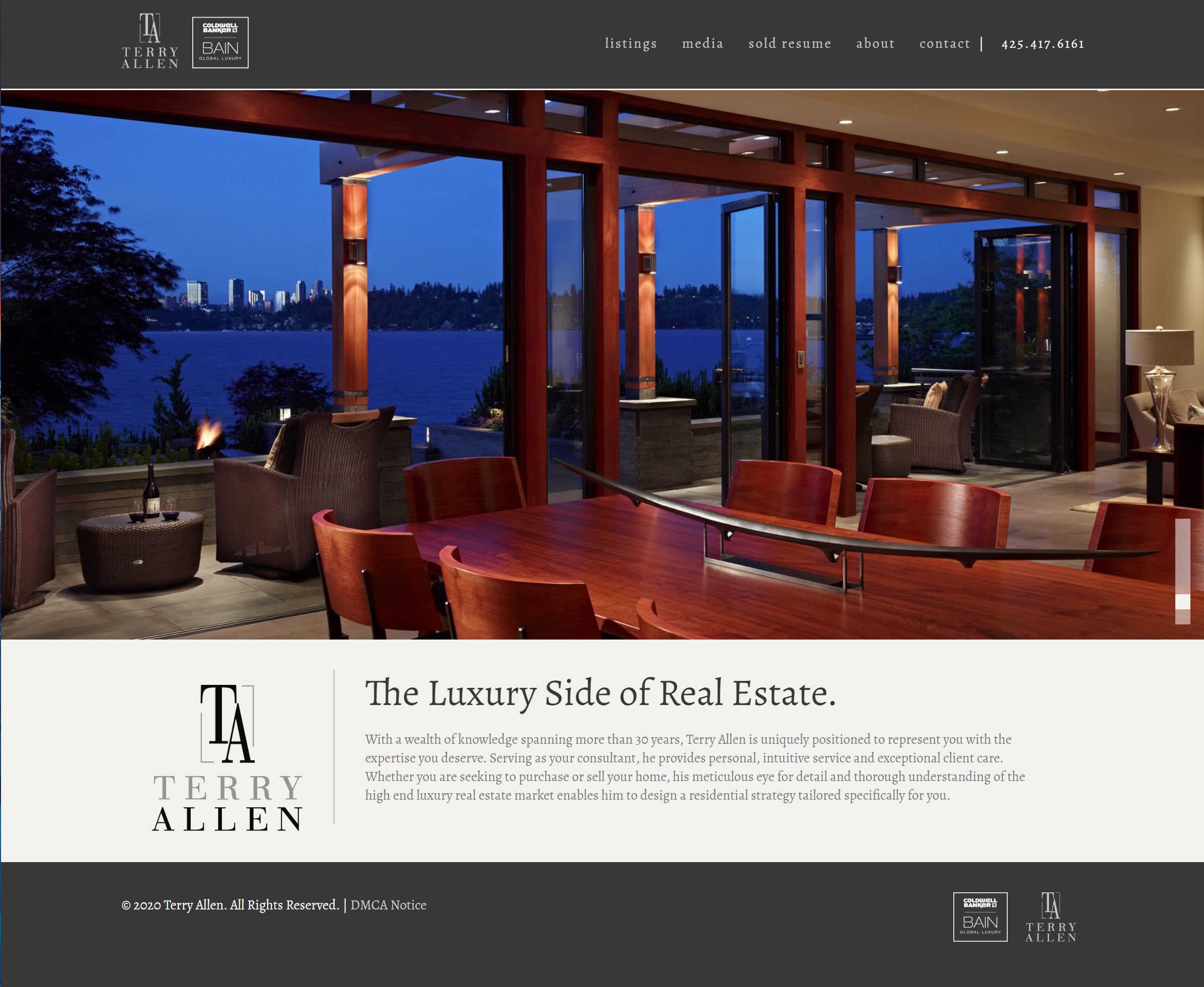 Terry Allen Luxe Website Design by Efinitytech Seattle