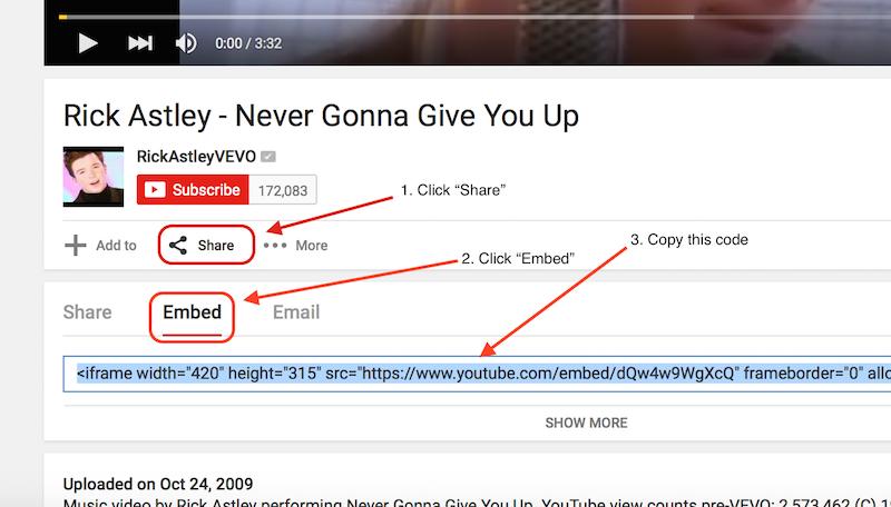 Embed Code Screenshot
