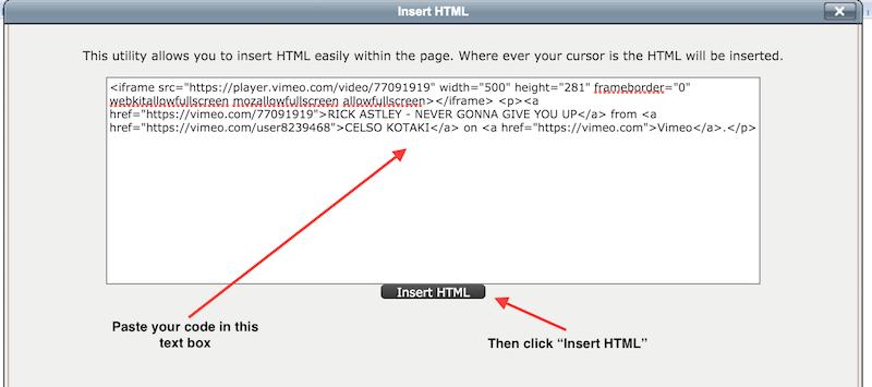 Insert HTML text box Screenshot