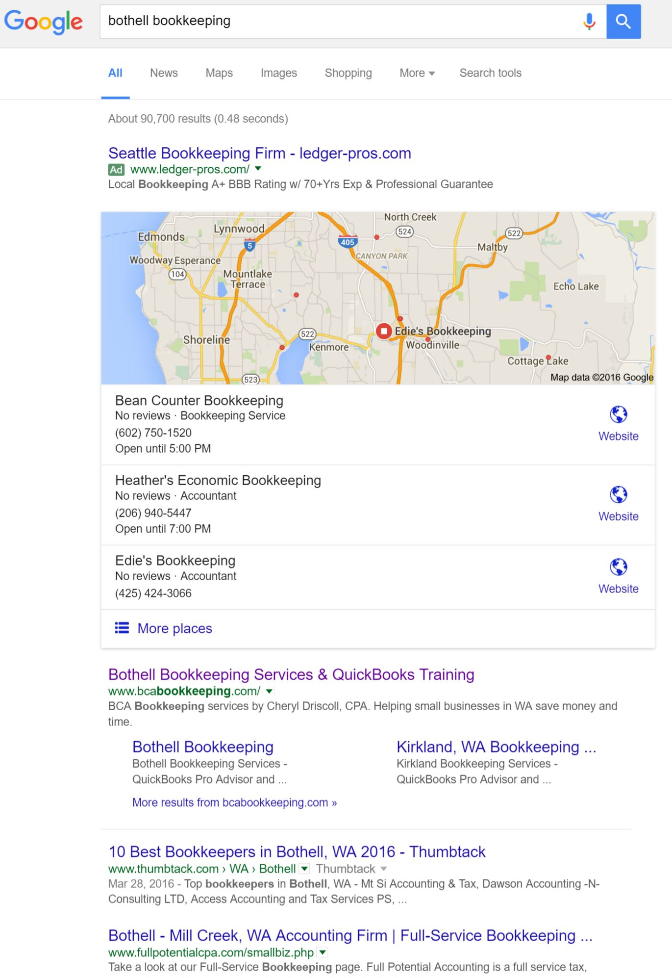 Bothell Bookkeeping on Google