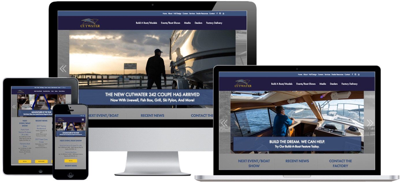 Cutwater Boats Website Design by Efinitytech Seattle