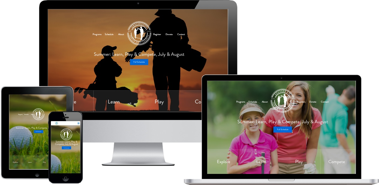 Grass Roots Junior Golf Charity Website Design by Efinitytech Seattle