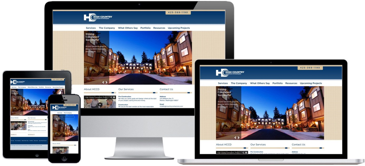 High Country Contractors Website Design by Efinitytech Seattle