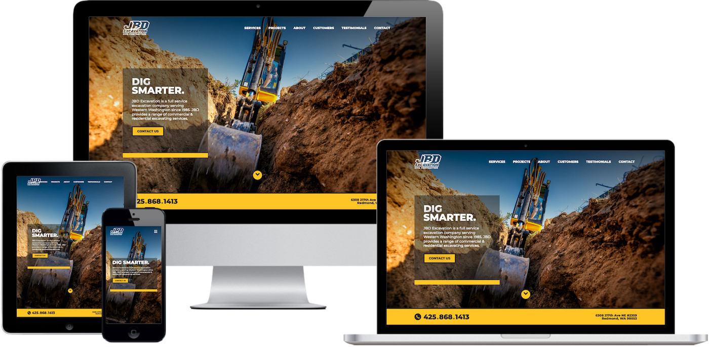 JBD Excavation Website Design by Efinitytech Seattle