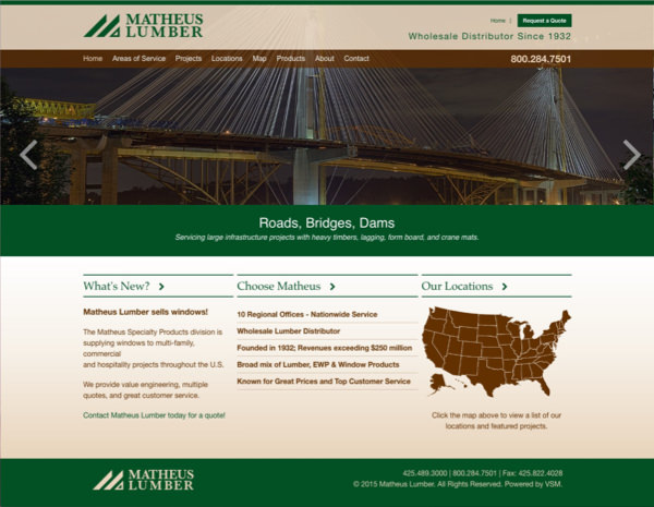 Matheus Lumber Website Design by Efinitytech Seattle