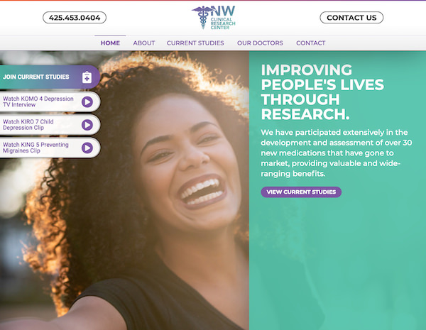NW Clinical Research Center Website Design by Efinitytech Seattle
