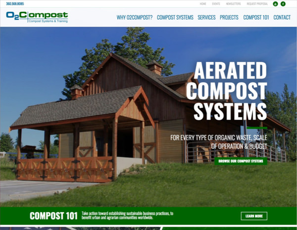 O2 Compost Website Design by Efinitytech Seattle