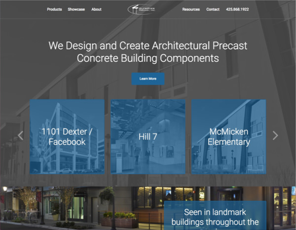 Olyprecast Website Design by Efinitytech Seattle