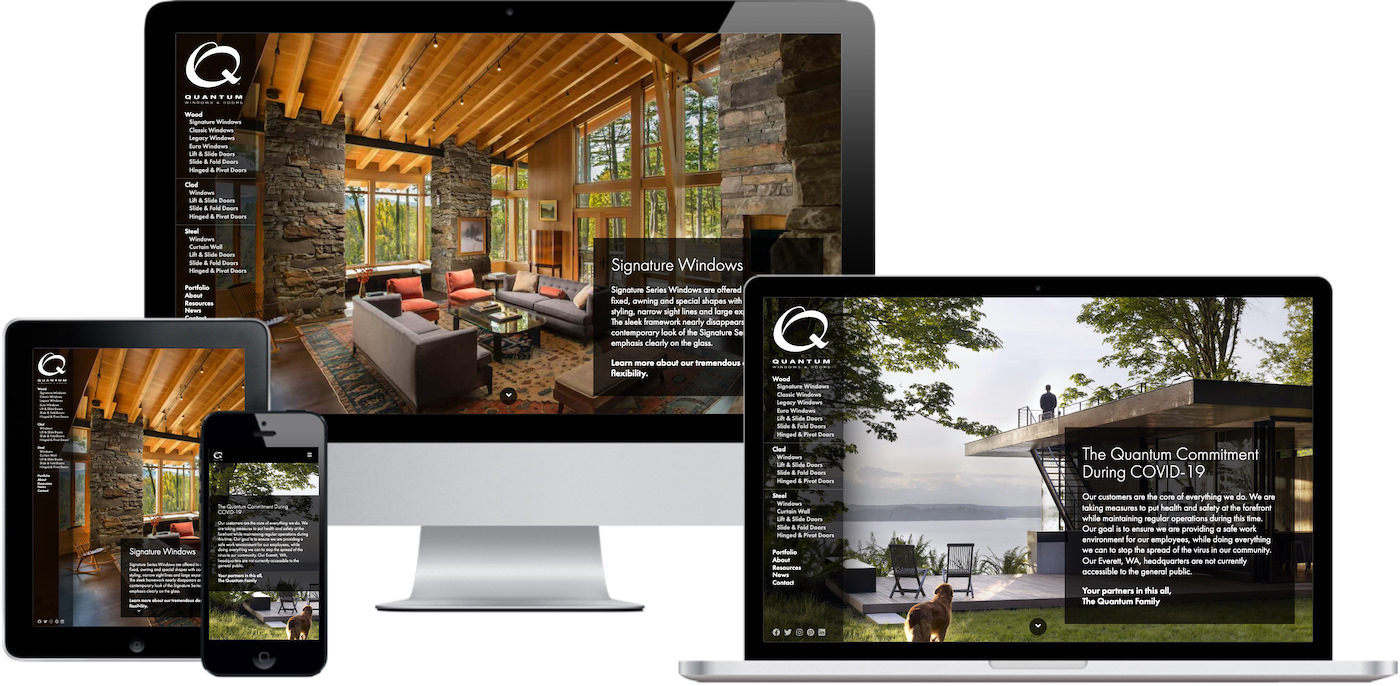 Quantum Windows Website Design by Efinitytech Seattle