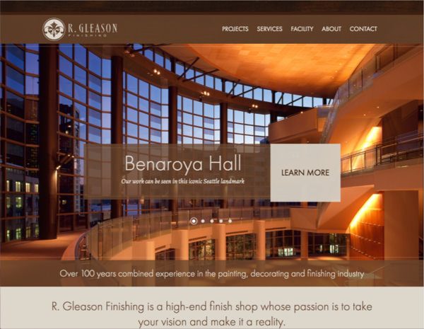 R Gleason Finishing Website Design by Efinitytech Seattle