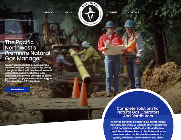 Snyder Gas Consulting Website Design by Efinitytech Seattle