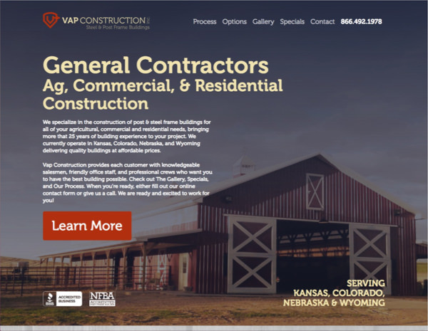 VAP Construction Website Design by Efinitytech Seattle